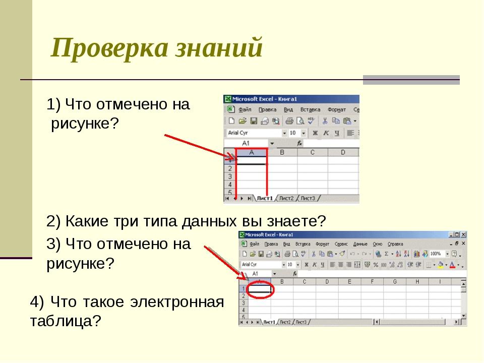 Проверка знаний Что отмечено на рисунке? 2) Какие три типа данных вы знаете?...