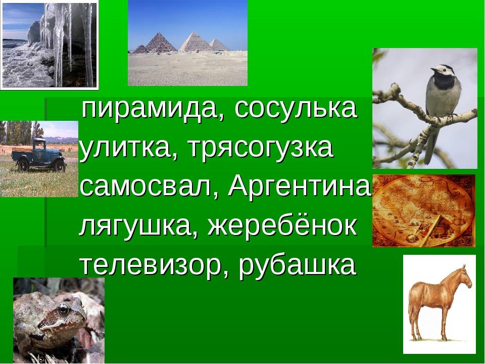 пирамида, сосулька улитка, трясогузка самосвал, Аргентина лягушка, жеребёнок...