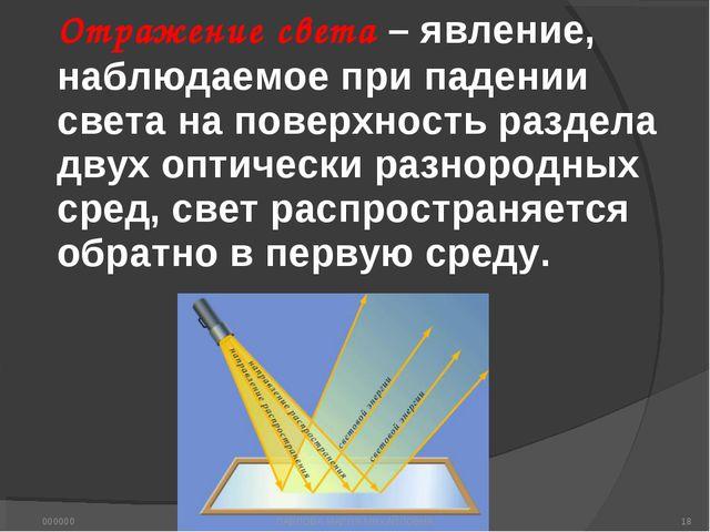 Отражение света – явление, наблюдаемое при падении света на поверхность разде...
