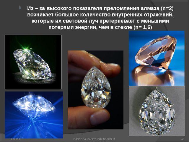 Из – за высокого показателя преломления алмаза (n=2) возникает большое количе...
