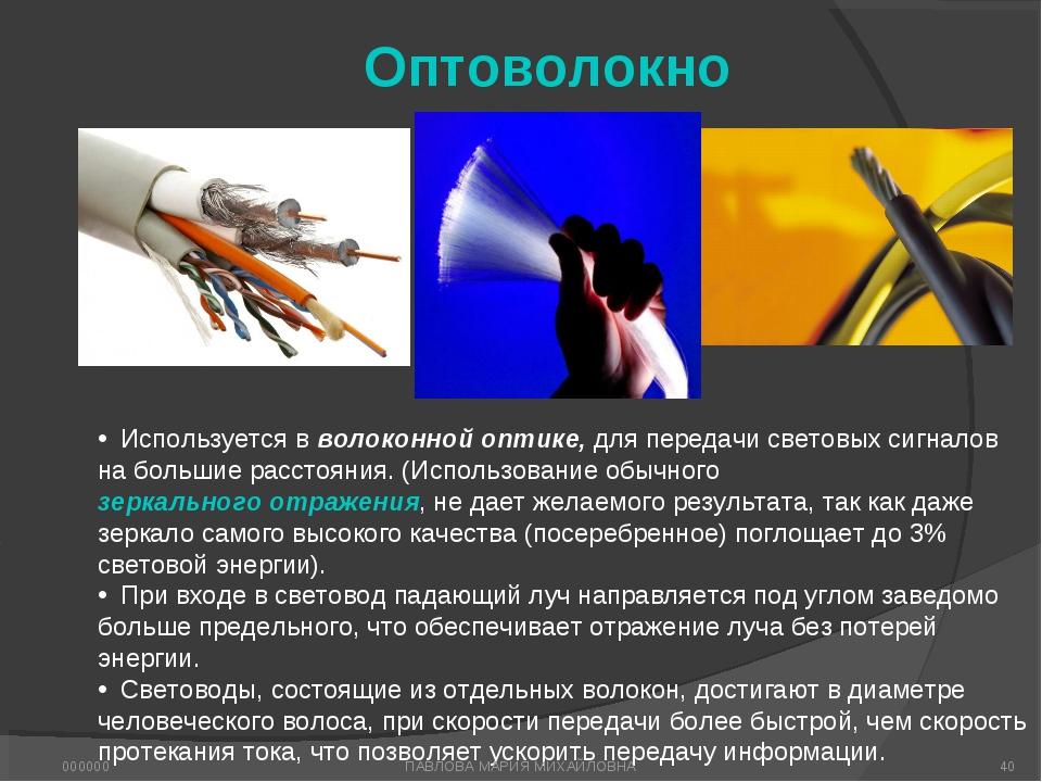 Оптоволокно Используется в волоконной оптике, для передачи световых сигналов...