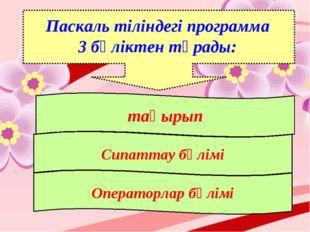 Паскаль тіліндегі программа 3 бөліктен тұрады: тақырып Сипаттау бөлімі Операт