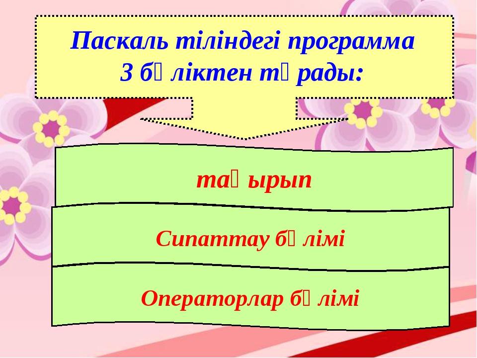 Паскаль тіліндегі программа 3 бөліктен тұрады: тақырып Сипаттау бөлімі Операт...