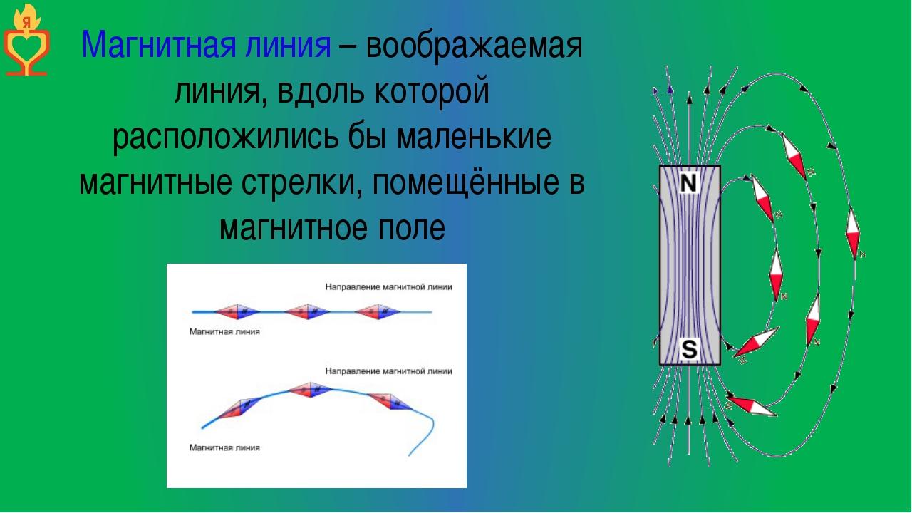 Магнитная линия – воображаемая линия, вдоль которой расположились бы маленьки...