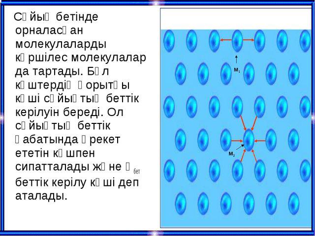 Сұйық бетінде орналасқан молекулаларды көршілес молекулалар да тартады. Бұл...