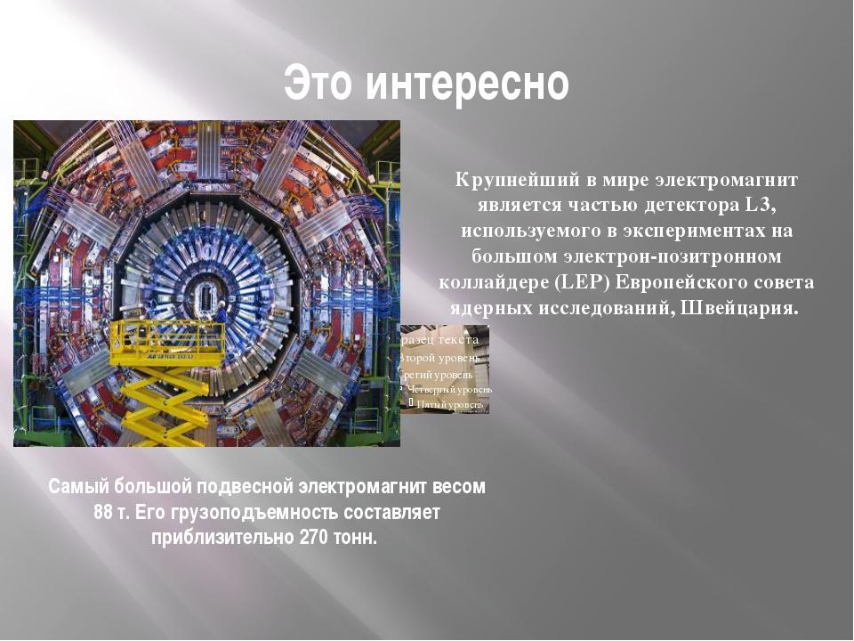 Это интересно Самый большой подвесной электромагнит весом 88 т. Его грузоподъ...