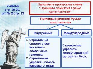 """Учебник стр. 38-39, р/т № 2 стр. 13 Заполните пропуски в схеме """"Причины приня"""
