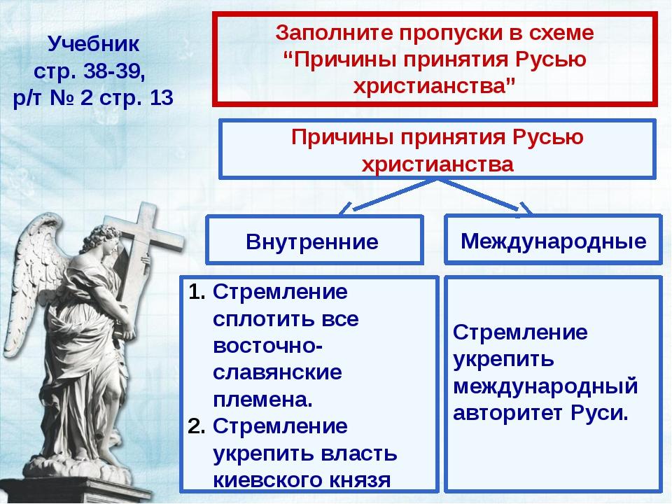 """Учебник стр. 38-39, р/т № 2 стр. 13 Заполните пропуски в схеме """"Причины приня..."""
