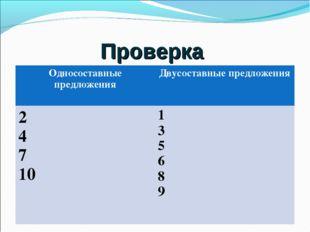 Проверка Односоставные предложения Двусоставные предложения 2 4 7 101 3 5 6