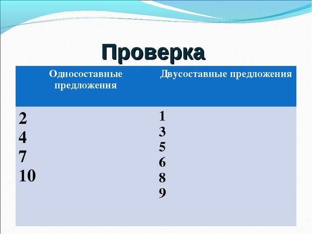Проверка Односоставные предложения Двусоставные предложения 2 4 7 101 3 5 6...