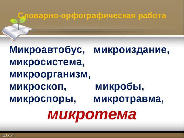 Словарно-орфографическая работа Микроавтобус, микроиздание, микросистема, мик...