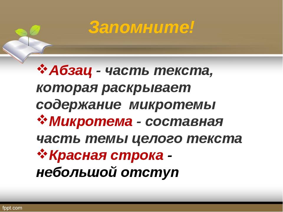 Запомните! Абзац - часть текста, которая раскрывает содержание микротемы Микр...