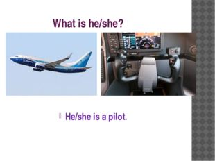 What is he/she? He/she is a pilot.