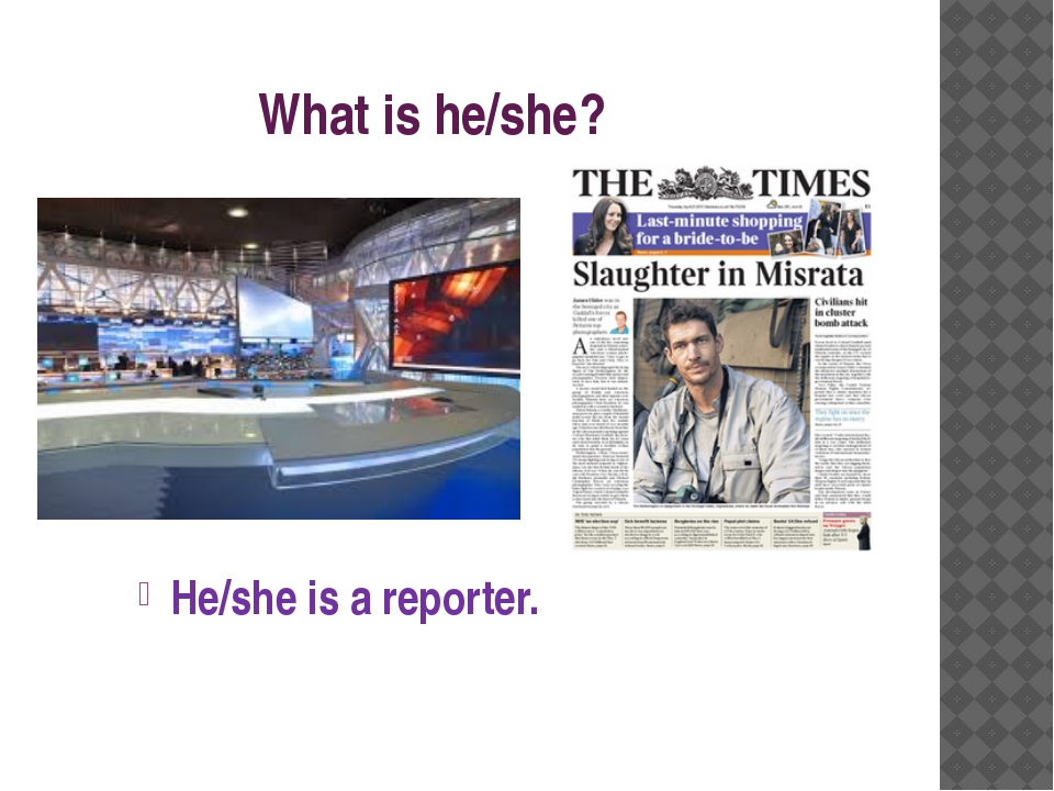 What is he/she? He/she is a reporter.