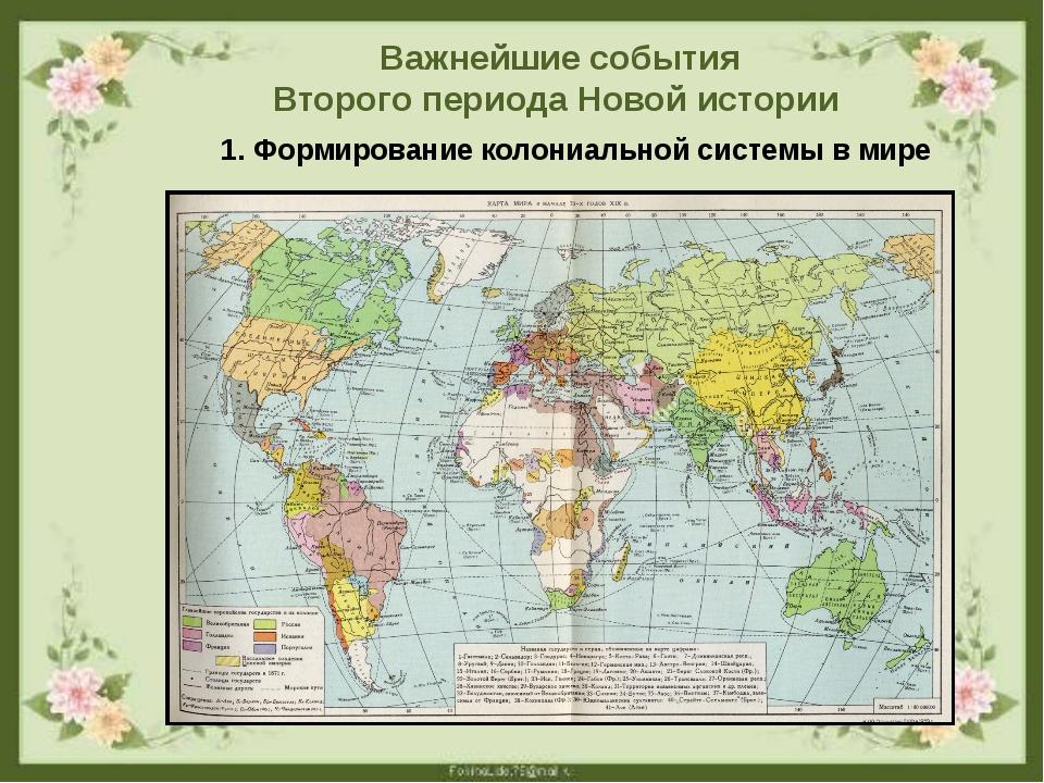 Важнейшие события Второго периода Новой истории 1. Формирование колониальной...