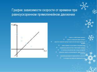 График зависимости скорости от времени при равноускоренном прямолинейном движ