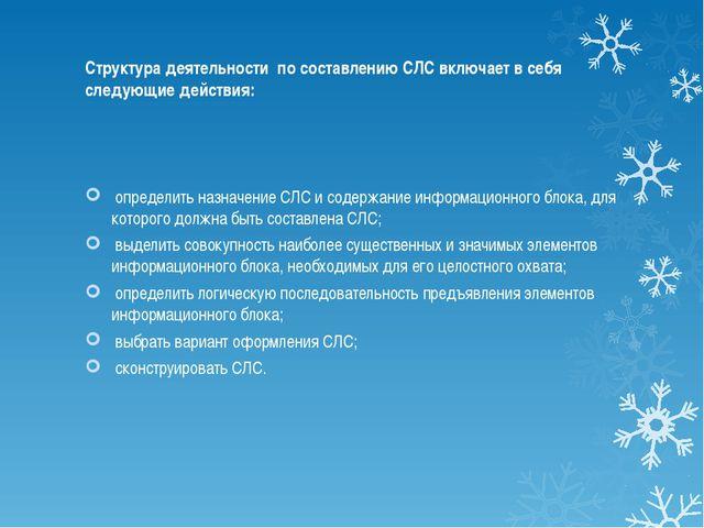Структура деятельности по составлению СЛС включает в себя следующие действия...