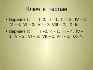 Ключ к тестам Вариант 1: I -2, II – 1, III – 3, IV – 2, V – 4, VI – 2, VII –