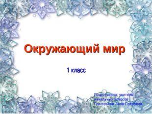 Окружающий мир 1 класс Подготовила: учитель начальных классов Григорьева Анна