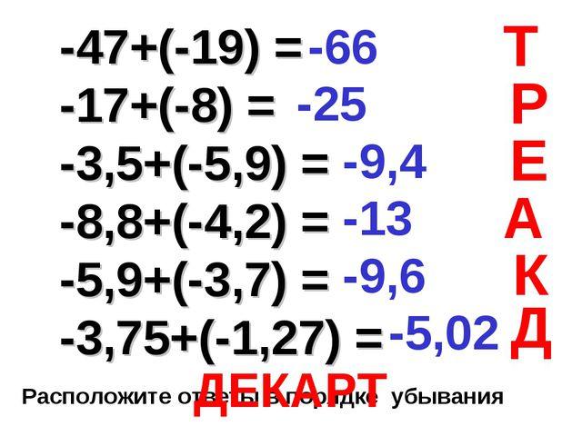 -47+(-19) = -17+(-8) = -3,5+(-5,9) = -8,8+(-4,2) = -5,9+(-3,7) = -3,75+(-1,2...