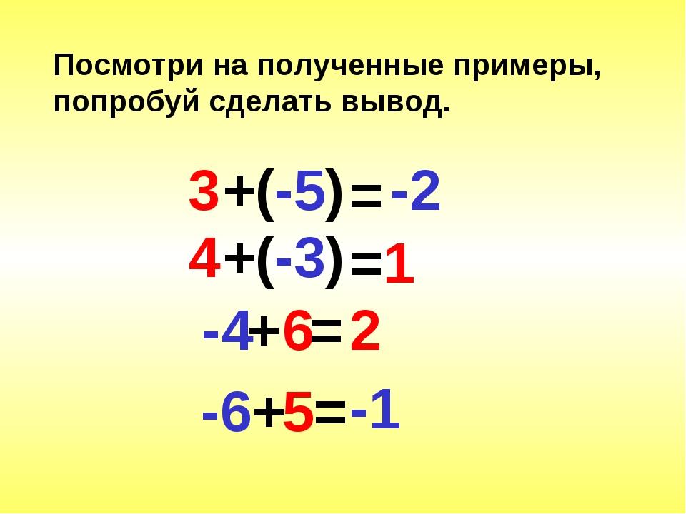 Посмотри на полученные примеры, попробуй сделать вывод. +