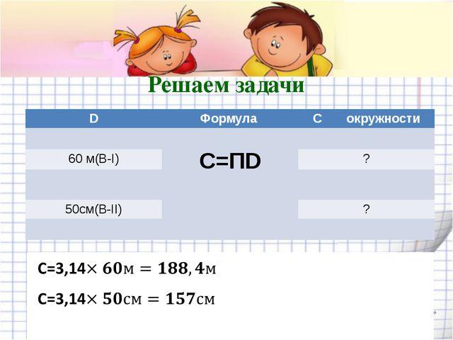 Решаем задачи D Формула Cокружности C=ПD 60 м(В-I) ? 50см(В-II) ? shpuntova.u...
