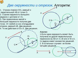 Две окружности и отрезок. Алгоритм: О Строим отрезок ОО2, равный и параллельн