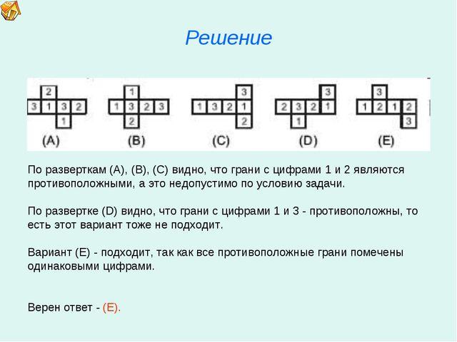 Решение По разверткам (A), (B), (C) видно, что грани с цифрами 1 и 2 являются...