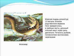 Меловой период Мозозавр Морские ящеры длиной до 13 метров, близкие родственни