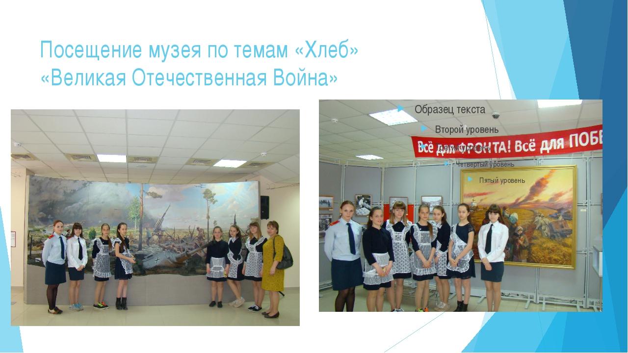 Посещение музея по темам «Хлеб» «Великая Отечественная Война»