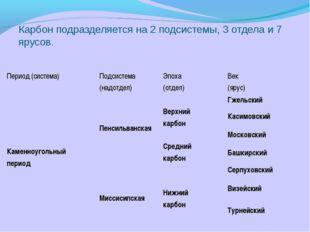 Карбон подразделяется на 2 подсистемы, 3 отдела и 7 ярусов. Период (система)
