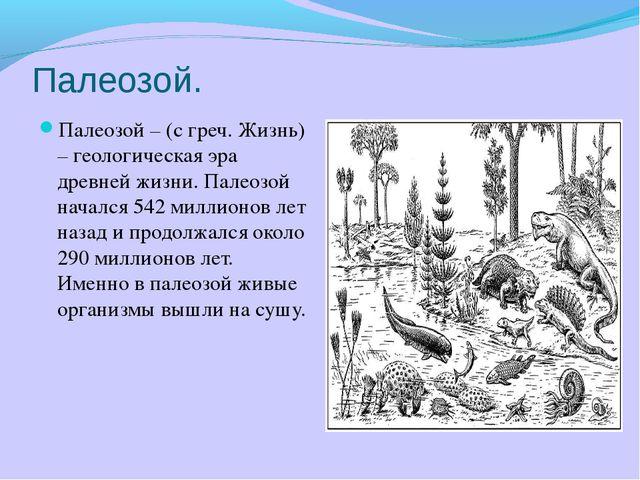 Палеозой. Палеозой – (с греч. Жизнь) – геологическая эра древней жизни. Палео...