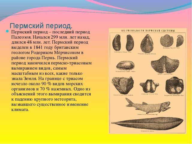 Пермский период. Пермский период – последний период Палеозоя. Начался 299 млн...