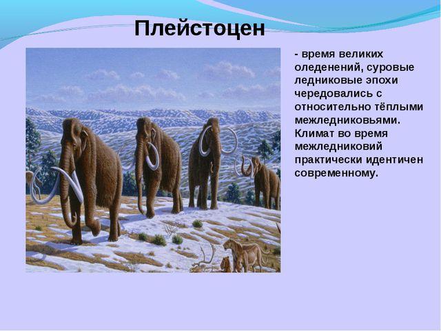 Плейстоцен - время великих оледенений, суровые ледниковые эпохи чередовались...