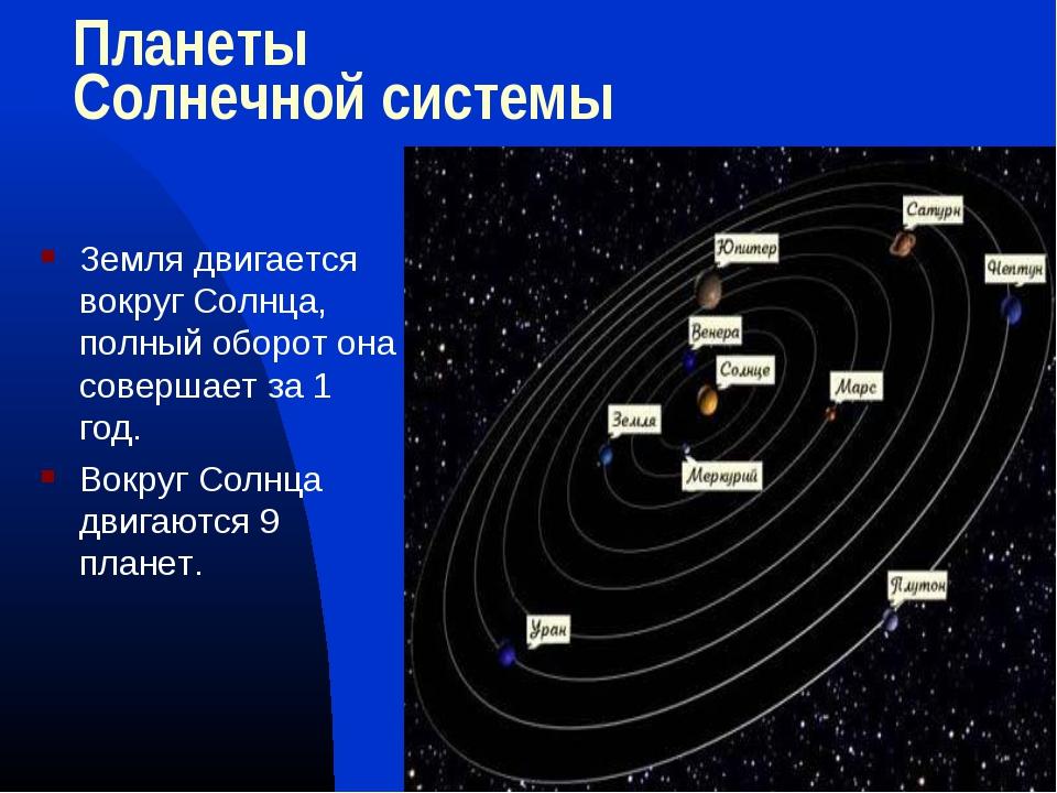 Планеты Солнечной системы  Земля двигается вокруг Солнца, полный оборот она...