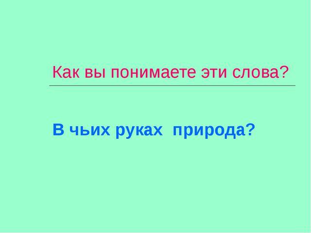 Как вы понимаете эти слова? В чьих руках природа?