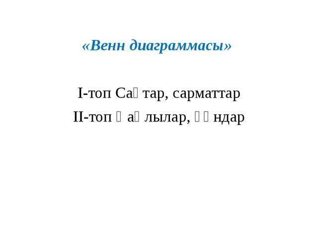 «Венн диаграммасы» I-топ Сақтар, сарматтар II-топ Қаңлылар, ғұндар