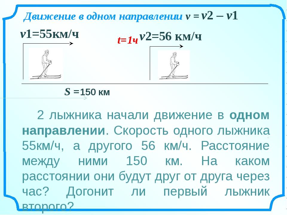 v2=56 км/ч v1=55км/ч Движение в одном направлении v = v2 – v1 2 лыжника нача...