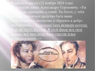 В одном из писем (12 ноября 1824 года) Жуковский пишет Александру Сергеевичу: