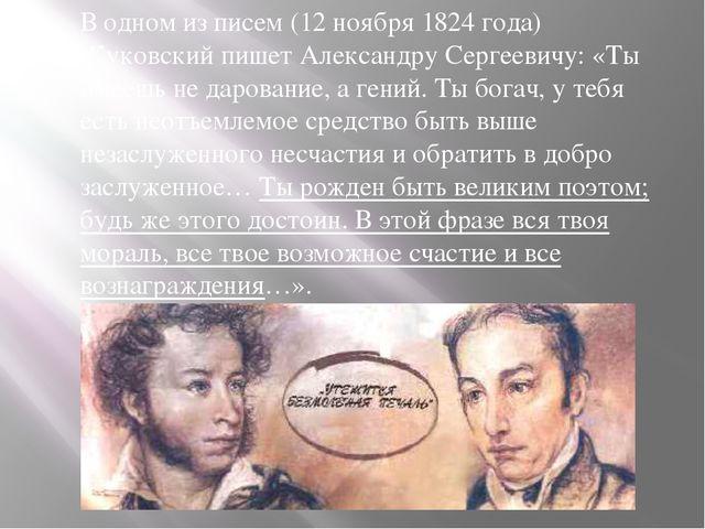 В одном из писем (12 ноября 1824 года) Жуковский пишет Александру Сергеевичу:...