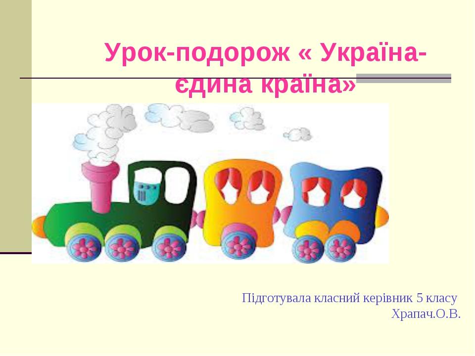 Підготувала класний керівник 5 класу Храпач.О.В. Урок-подорож « Україна-єдина...