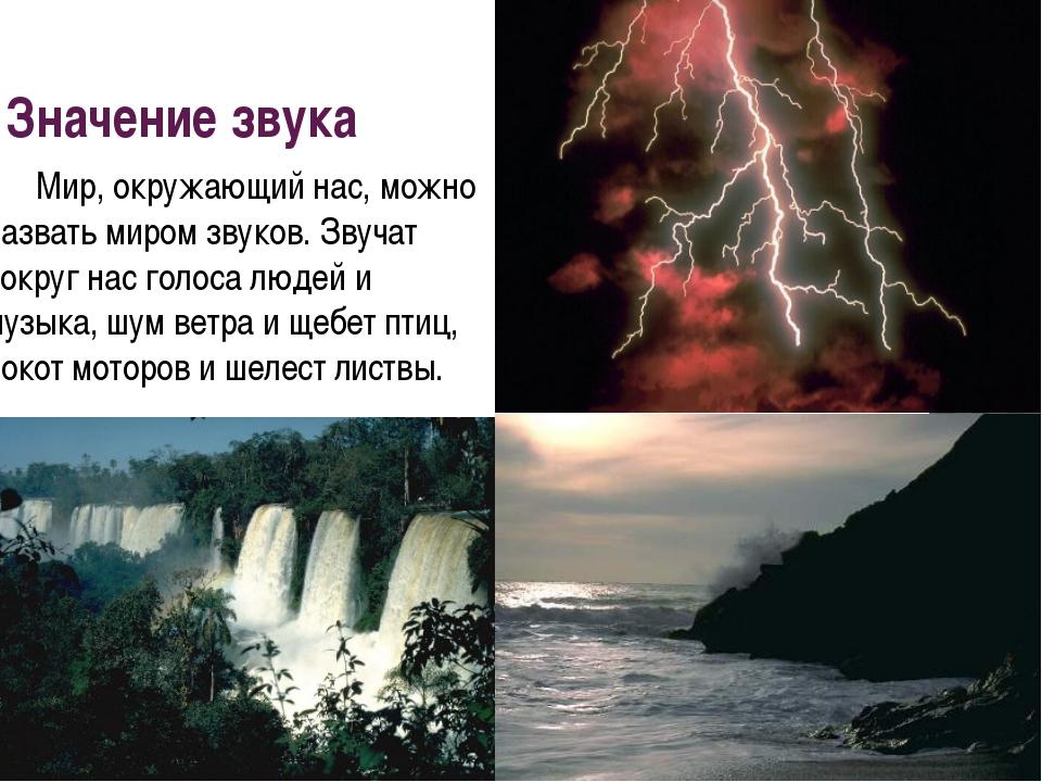 Значение звука Мир, окружающий нас, можно назвать миром звуков. Звучат вокру...