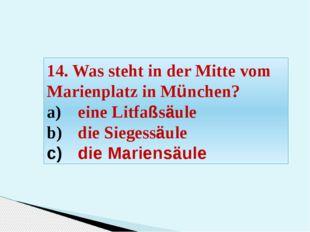 14. Was steht in der Mitte vom Marienplatz in München? eine Litfaßsäule die S