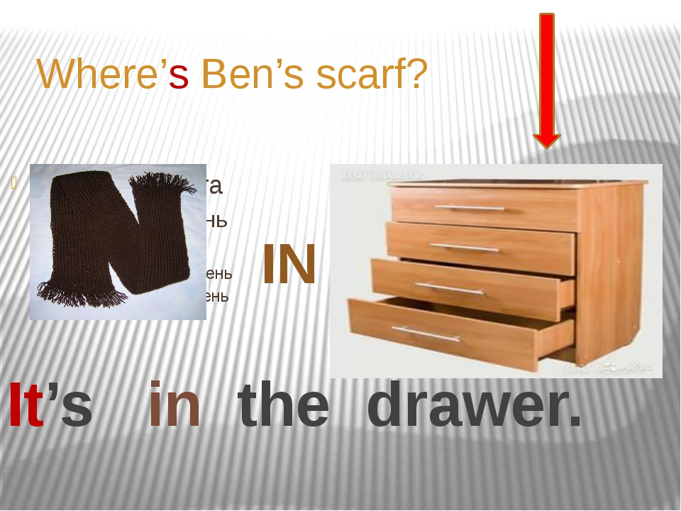 It's in the drawer. Where's Ben's scarf? IN
