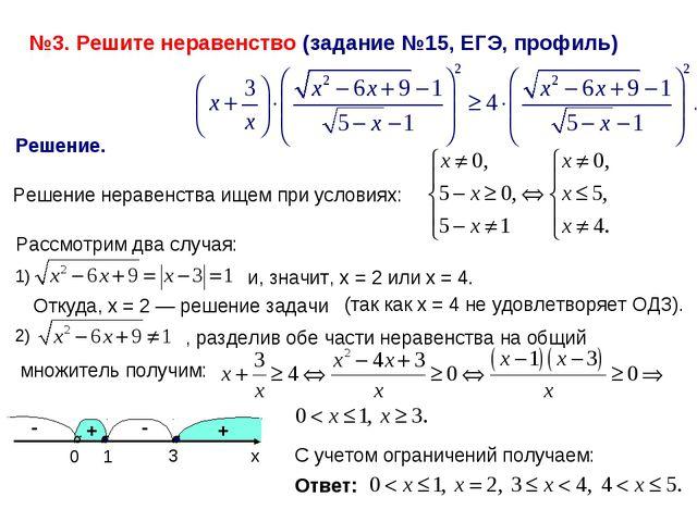 №3. Решите неравенство (задание №15, ЕГЭ, профиль) Решение. Решение неравенст...
