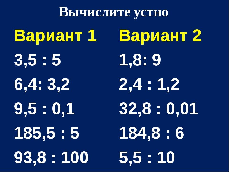 Вычислите устно Вариант 1 3,5 : 5 6,4: 3,2 9,5 : 0,1 185,5 : 5 93,8 : 100 Вар...