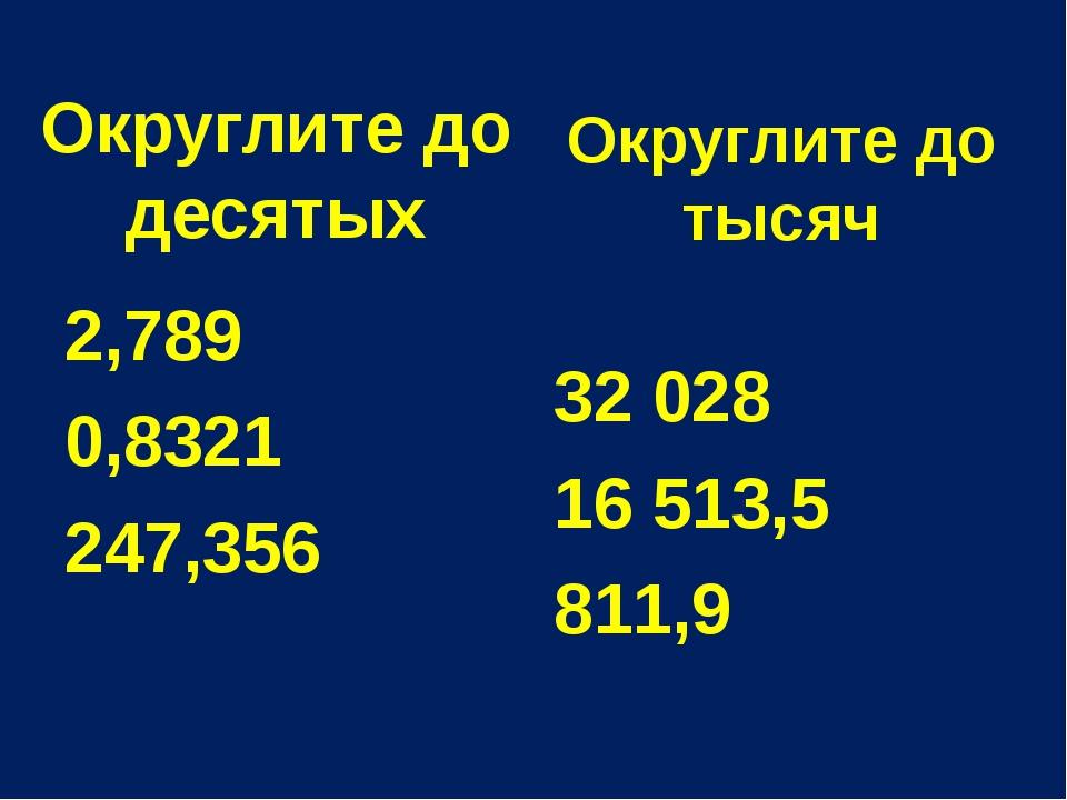 Округлите до тысяч 2,789 0,8321 247,356 32 028 16 513,5 811,9 Округлите до де...