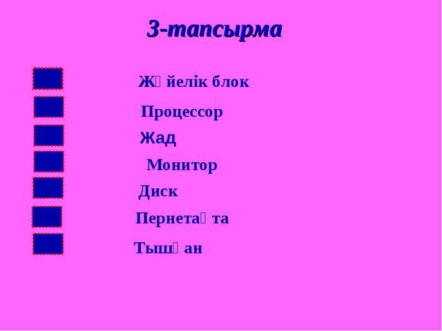 3-тапсырма Жүйелік блок Процессор Жад Монитор Диск Пернетақта Тышқан