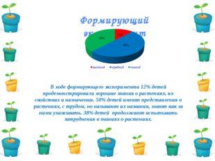 Формирующий эксперимент В ходе формирующего эксперимента 12% детей продемонст