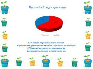 Итоговый эксперимент 63% детей хорошо освоили знания о растениях, различают и